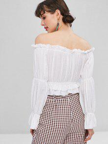 6f31388b1cebd4 30% OFF  2019 Cropped Frilled Off Shoulder Top In WHITE