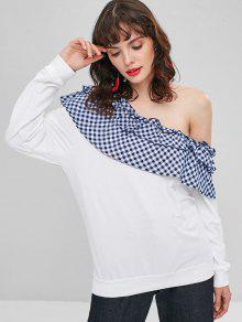 Shoulder L Sweatshirt Ruffles Blanco Checked One Uq4P46