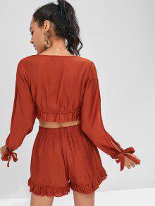 Con o De Conjunto Volantes Pantalones Cortos De Rojo Casta M Ribete qxCw6ZBnf