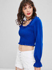 Azul Blusa Fruncido Recorte Con S Sin Mangas xqwqXv0