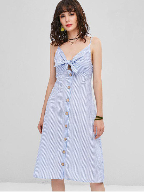 women Button Up Tie Front Stripes Dress - SEA BLUE L