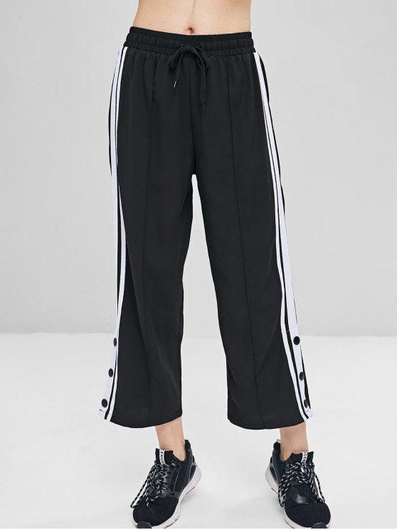Pantaloni Con Patch A Righe - Nero M