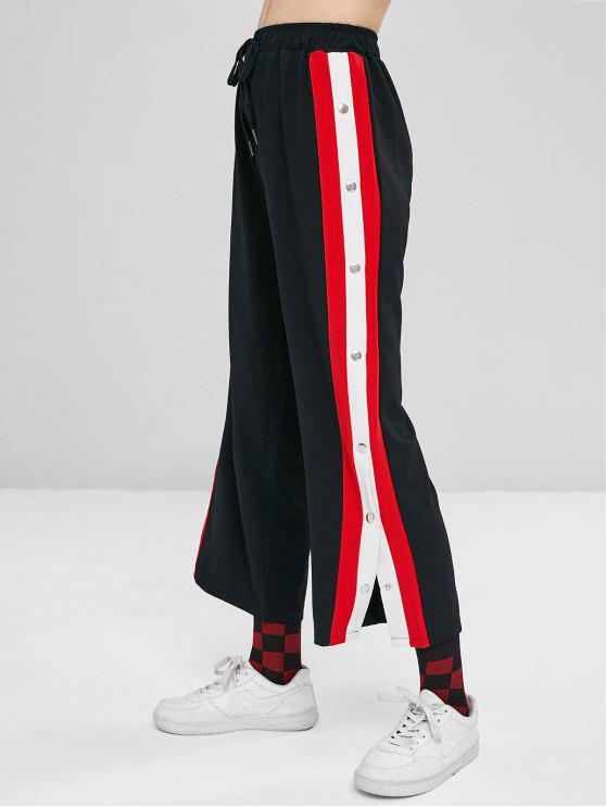 سروال واسع بنقوش بلون مغاير - أسود L