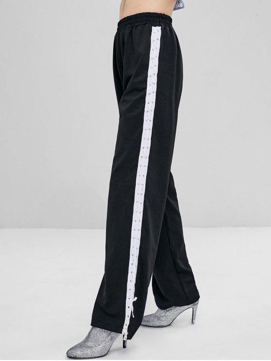 ارتفاع الخصر الدانتيل يصل سروال - أسود XL