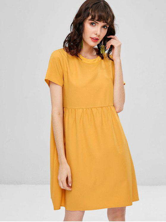 womens Casual Shift Mini Dress - BEE YELLOW L