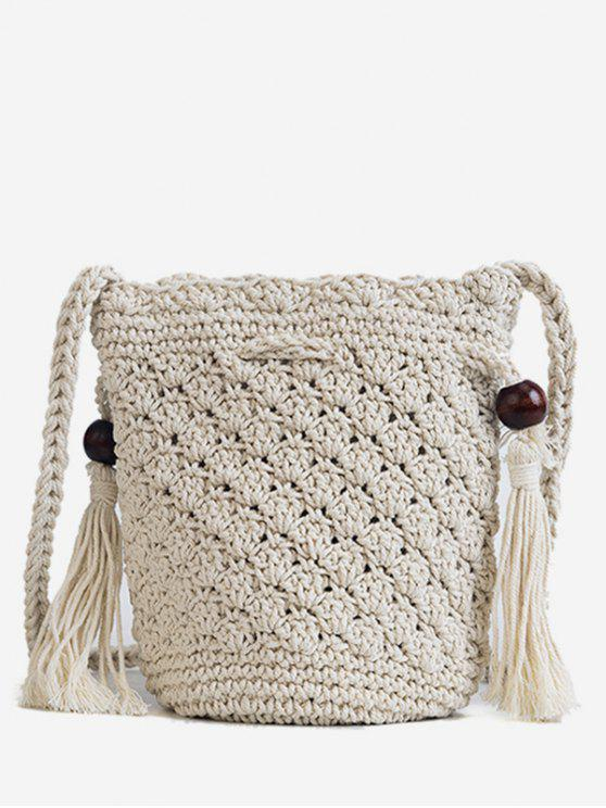 chic Tassels Decoration Knitted Crossbody Bag - WHITE