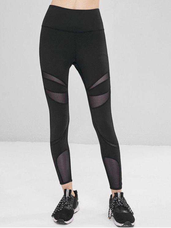 women High Waisted Mesh Panel Sports Leggings - BLACK S