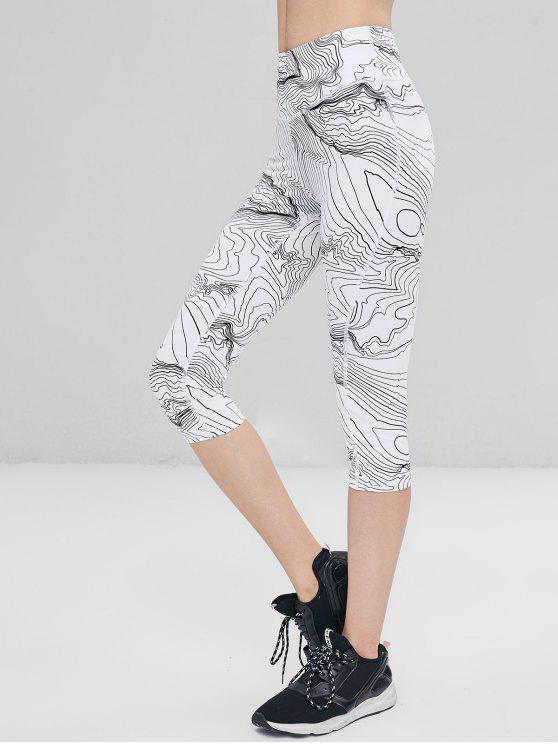 hot Abstract Print High Waist Cropped Leggings - WHITE S