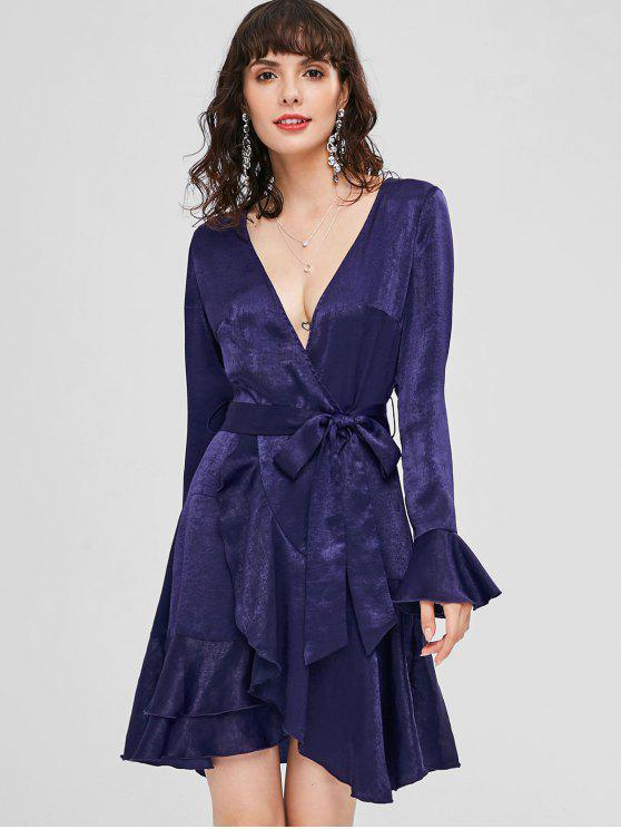 hot Plunge Flare Sleeve Belted Dress - MIDNIGHT BLUE S