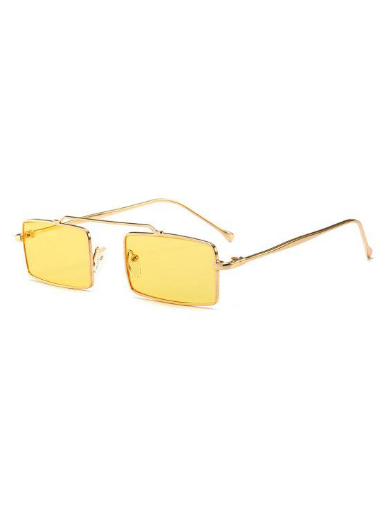 shops Anti Fatigue Rectangle Frame Crossbar Sunglasses - YELLOW