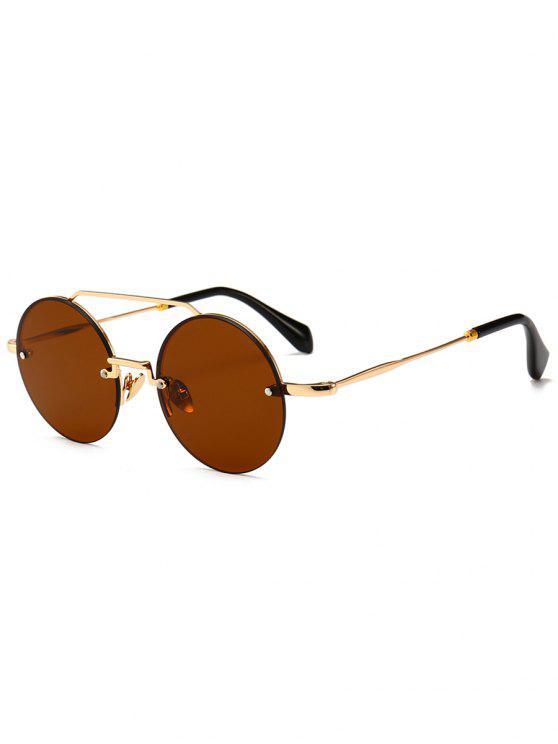 Novedad Crossbar gafas de sol redondas sin montura - Marrón Oscuro