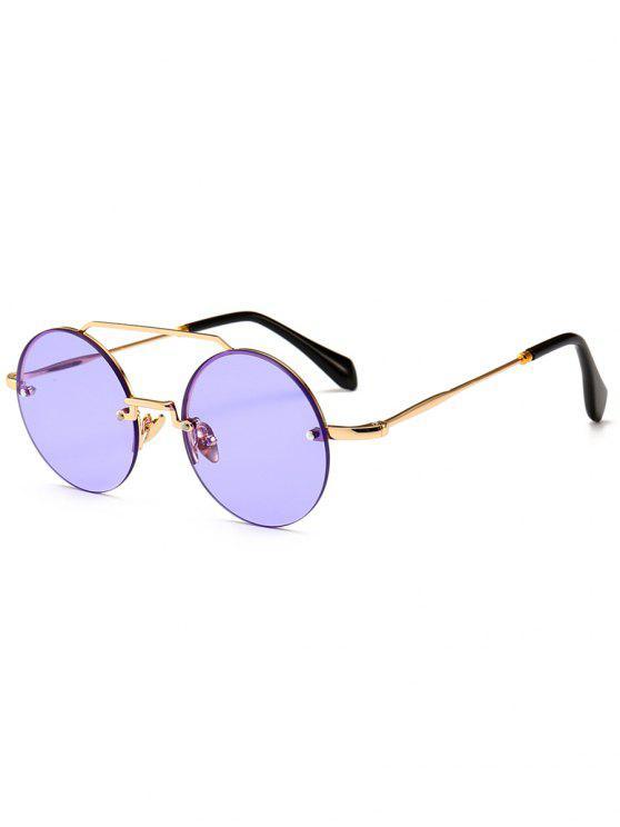 Novedad Crossbar gafas de sol redondas sin montura - Mimosa Púrpura