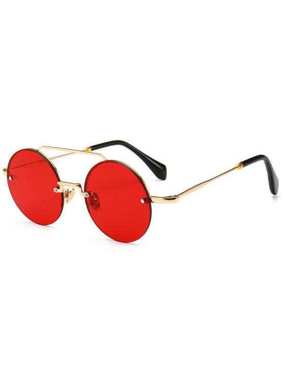 women's Novelty Crossbar Round Rimless Sunglasses - RED