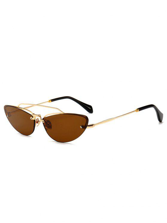online Novelty Crossbar Decorative Rimless Sunglasses - BROWN