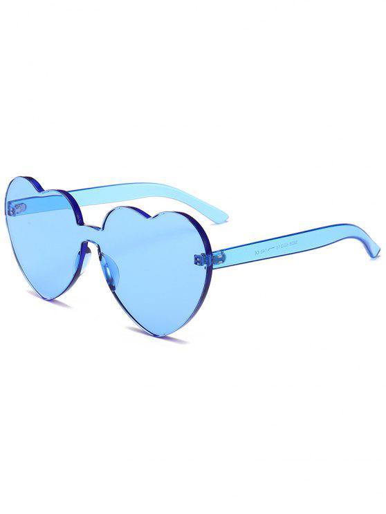 Occhiali Da Sole Non Cerchiati A Forma Di Cuore Di Novita' - Blu Leggero