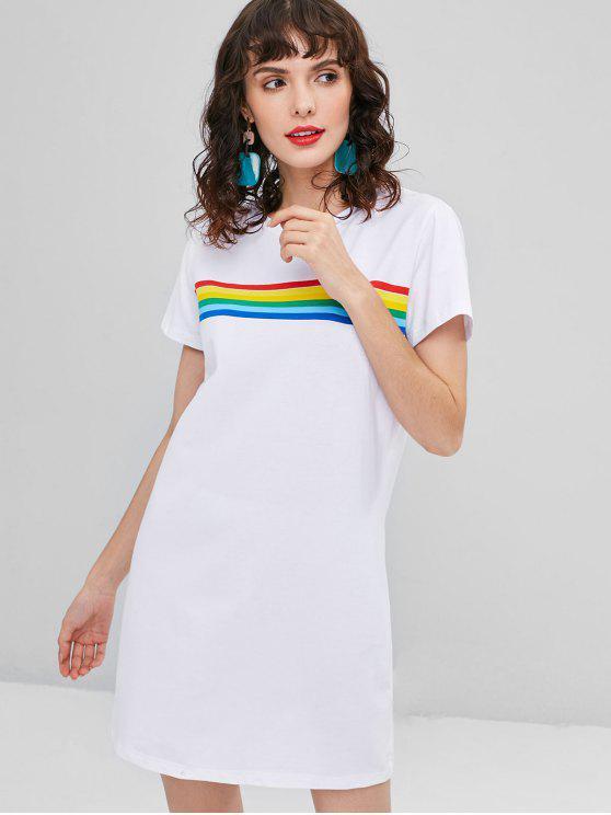 shops Colorful Stripes Tee Dress - WHITE L