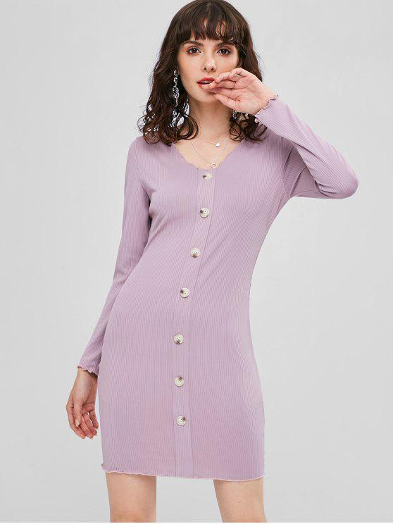 affordable Ribbed Buttoned Bodycon Dress - WISTERIA PURPLE M
