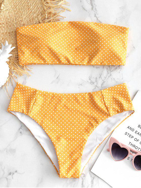online Polka Dot Bandeau Bikini - BRIGHT YELLOW L