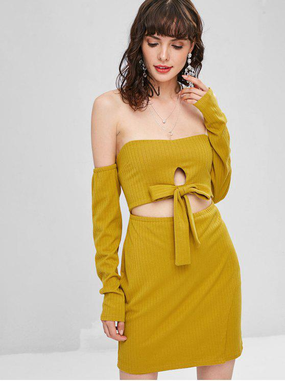 unique Cut Out Off Shoulder Long Sleeve Dress - GOLDEN BROWN S
