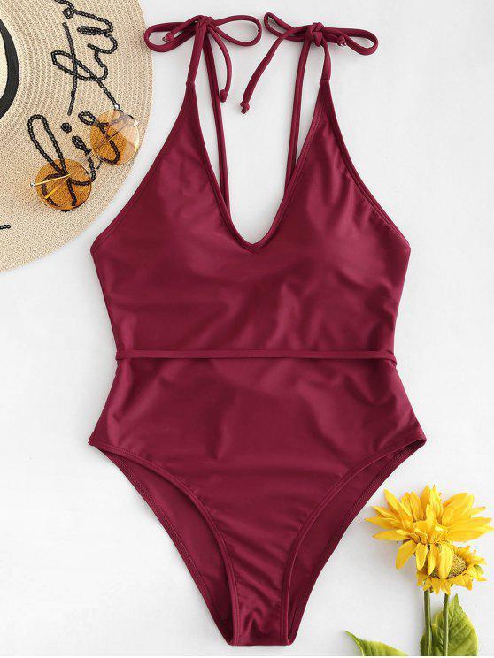 Costume Da Bagno A Taglio Alto Con Spalline Annodate - Vino Rosso L