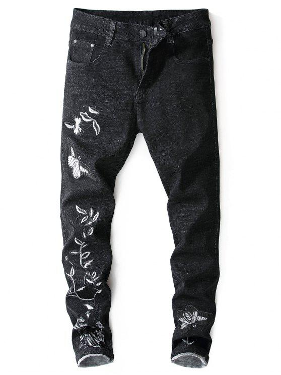 trendy Embroidery Butterfly Flower Zip Fly Jeans - BLACK 38