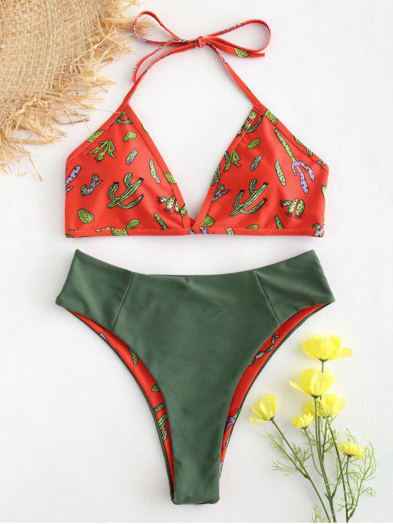 Conjunto de bikini con estampado de cactus de pierna alta - Rojo S