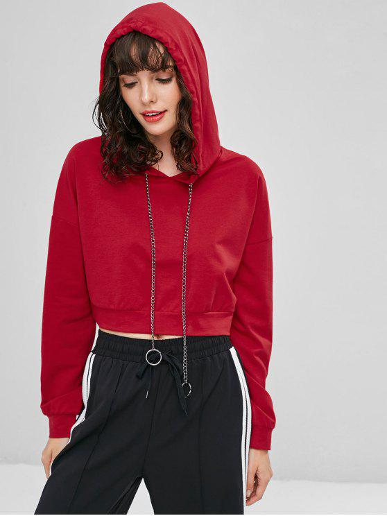 affordable Metal Chain Drawstring Cropped Hoodie - LOVE RED M