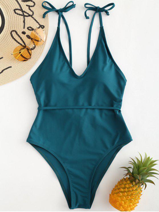 Costume Da Bagno A Taglio Alto Con Spalline Annodate - blu del pavone S