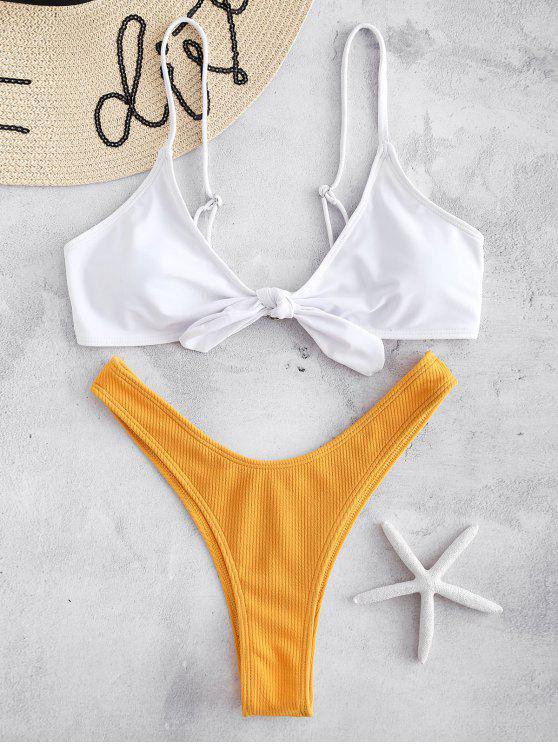 Bikini Anudado Con Acanalado Color Block - Amarillo S