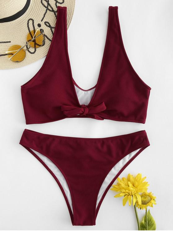 latest Ribbed Knotted Scrunch Butt Plus Size Bikini - RED WINE 1X