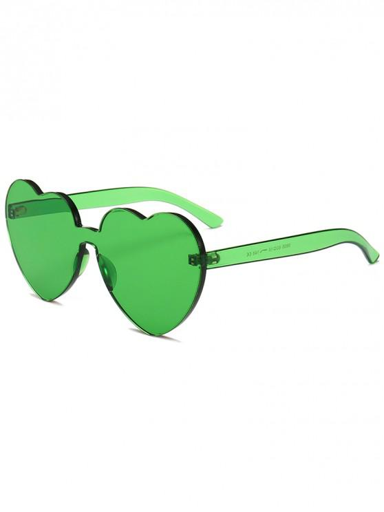 hot Anti Fatigue Heart Lens One-piece Sunglasses - SEA GREEN