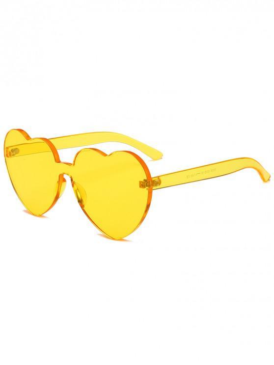 fashion Anti Fatigue Heart Lens One-piece Sunglasses - BEE YELLOW