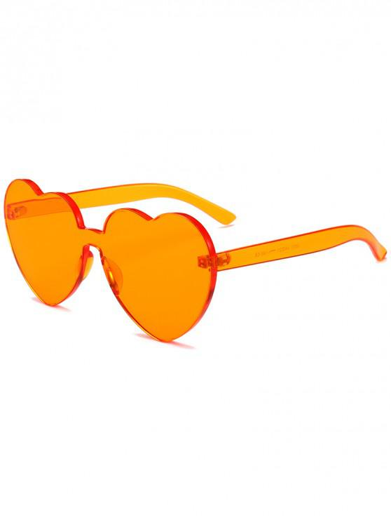 shop Anti Fatigue Heart Lens One-piece Sunglasses - TANGERINE