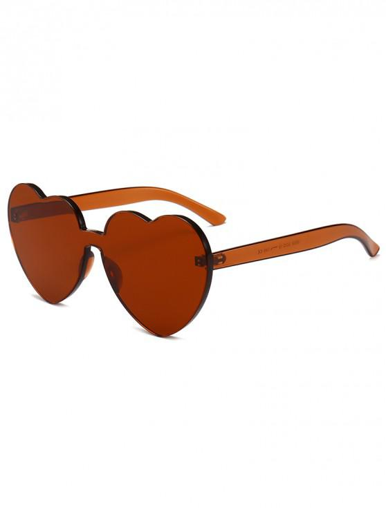 lady Anti Fatigue Heart Lens One-piece Sunglasses - PUCE