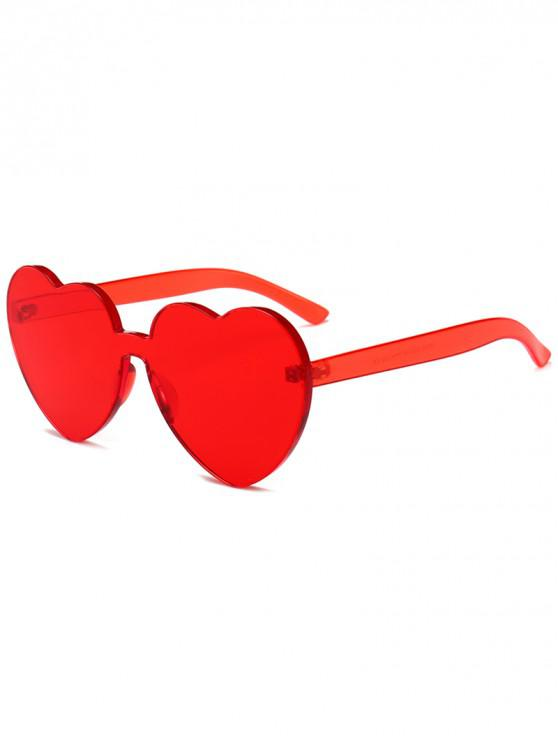 chic Anti Fatigue Heart Lens One-piece Sunglasses - RED