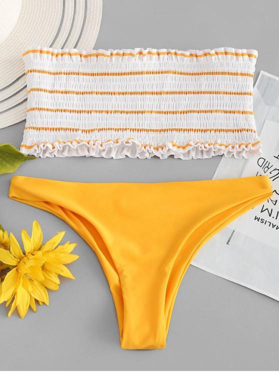 ZAFUL  Gestreiftes Gerafftes Bandeau-Bikini-Set - Helles Gelb L