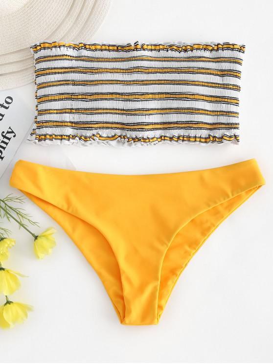 women's ZAFUL Stripe Smocked Bandeau Bikini Set - BRIGHT YELLOW M