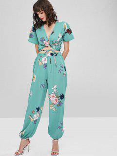 Print Wrap Top And Pants Set - Light Sea Green M