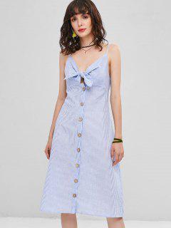 Button Up Tie Front Stripes Dress - Sea Blue S