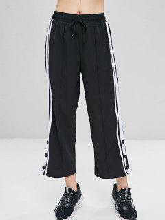 Striped Patched Cropped Pants - Black Xl
