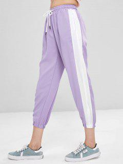High Waist Two Tone Pants - Lavender Blue L