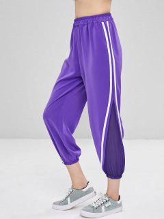 Striped Patched Capri Pants - Purple L