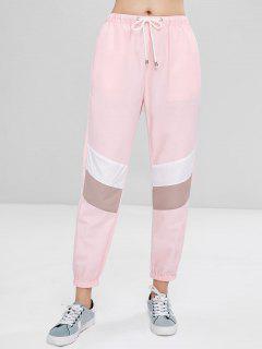 Sporty Contrasting Jogger Pants - Pink Bubblegum M