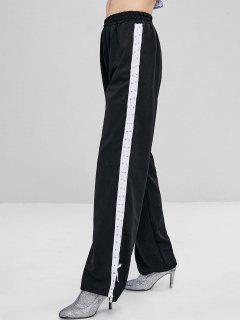 Pantalones De Cintura Alta Con Cordones - Negro Xl