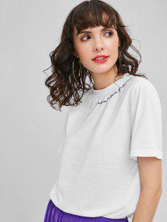 Camiseta Básica Bordada - Blanco Xl