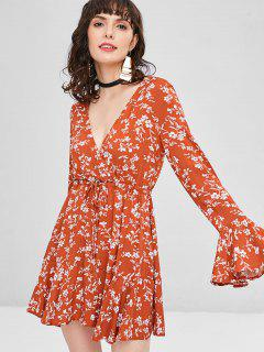 Bell Sleeve Floral Mini Dress - Chocolate M