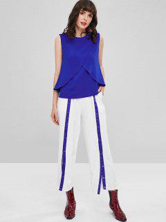 Top And Drawstring Snap-button Pants - Blue S