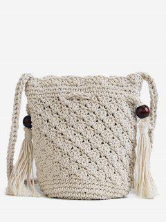 Tassels Decoration Knitted Crossbody Bag - White