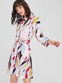 Vestido De Camisa Con Cinturón Estampado - Multicolor L