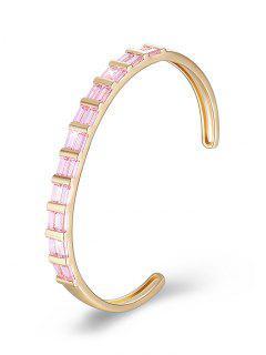 Colored Rhinestone Inlay Cuff Bracelet - Pig Pink